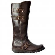 Solv Knee High Winter Boot - Low Wedge Cleated Sole - Black, Dark Brown
