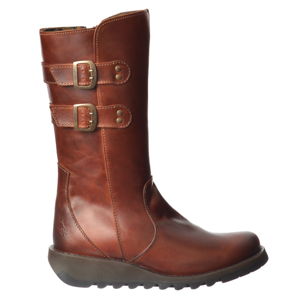 8cd381e88ecc9 Fly London Suli Mid Calf Rug Leather Winter Boot - Low Wedge Cleated Sole -  Brick
