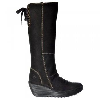Genuine Womens Fly London Woli912 Mid Calf Western Style Boot Black Sludge