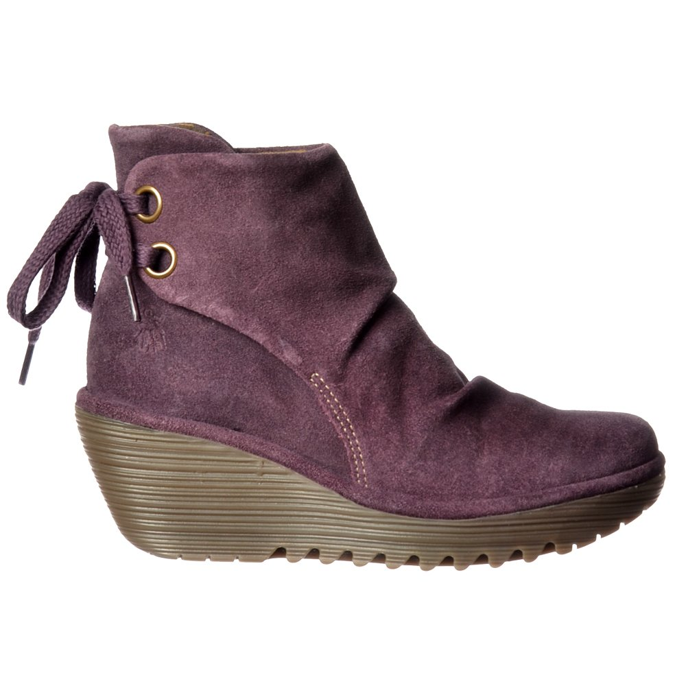 fly yama pull on ankle boots suede wedge