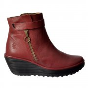 YAVA Leather Ankle Boot - Low Wedge Cleated Sole - Black, Navy, Cordoba Red