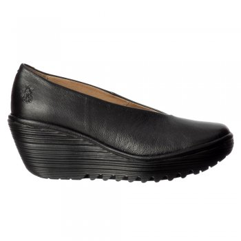 Fly London Yaz Wedge Round Toe Court Shoe - Low Heel Cleated Sole