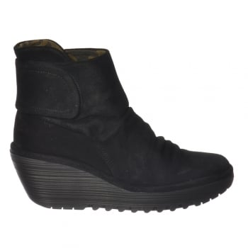 Fly London Yegi 689 Pull On Ankle Boots Wedge Heel - Oil Suede - Black, Ash