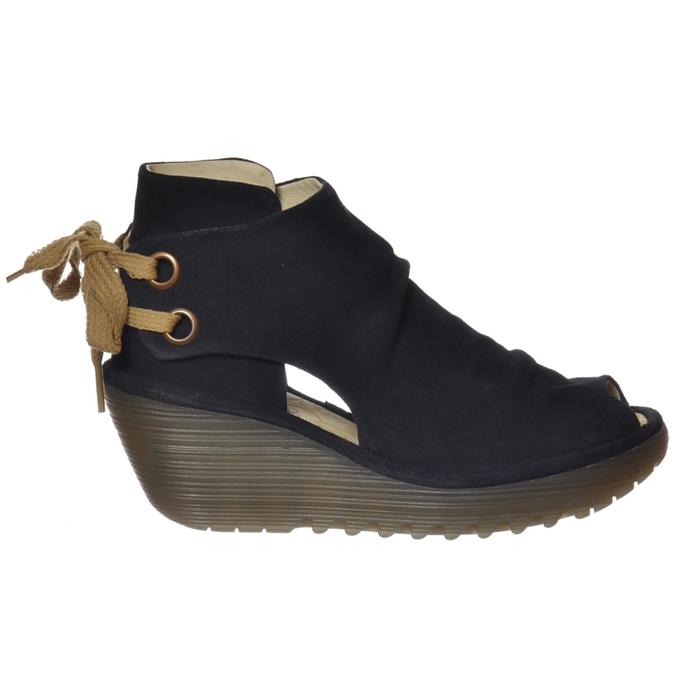Fly London Yema Pull On Open Toe Ankle Boot Oil Suede