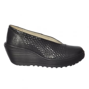 Fly London Yena 685 Fly Wedge Round Toe Court Shoe - Low Heel Cleated Sole - Black, Red