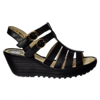 Fly London Ygor - Sling Back Summer Wedge Sandal - Black