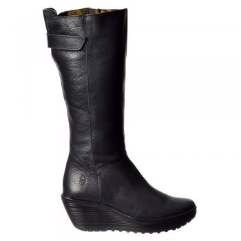 Fly London YOA Knee High Leather Winter Boot - Low Wedge Cleated Sole - Black, Dark Brown, Navy, Black Damani