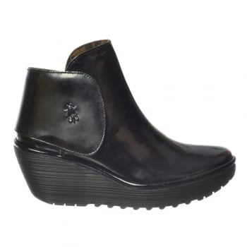 Fly London Yogi Pull On Ankle Boots Wedge Heel - Black Patent, Burgundy Patent