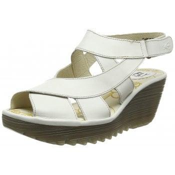 Fly London YONA737FLY Leather Peep Toe Wedge Slingback Sandal