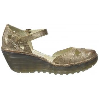 Fly London Yuna Mary Jane Wedge Sandal Full Leather