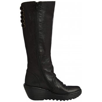 Yust Extra Wide Fitting Mid Calf  Winter Boot - Low Wedge Cleated Sole - Black, Sludge