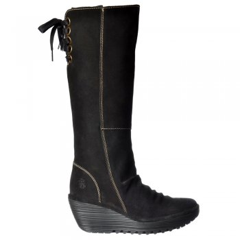 Fly London Yust Extra Wide Fitting Mid Calf  Winter Boot - Low Wedge Cleated Sole - Black, Sludge