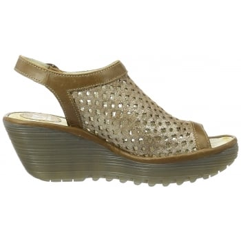 Fly London Yuti 734Fly Laser Cut Out Sling Back Leather Wedge Sandal
