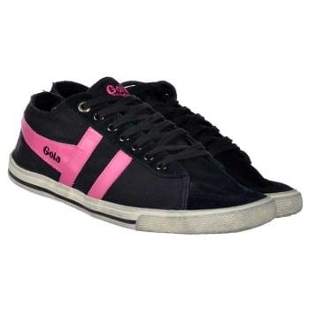 Gola Classics Quota Flat Trainers Sneakers - Worn Look - Black / Fuchsia