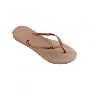 Havaianas Slim Logo Metallic - Flat Flip Flops - Rose Gold / Copper, Black / Graphite