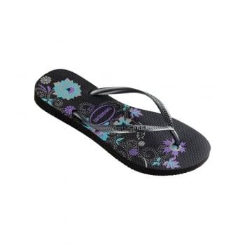 Havaianas Slim Organic Flat Flip Flops - Navy Blue, Black, Raspberry Rose, White / Silver