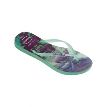Havaianas Slim Paisage - Flat Beach Flip Flop - Light Green