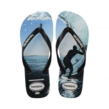 Havaianas Unisex Mens Boys Top Photo Print Flat Flip Flops - Black