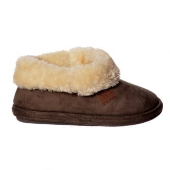 Jo & Joe Chiltern Fur Lined Fur Collar Slipper Boot - Cognac, Dark Brown