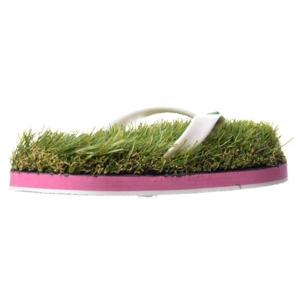 48f79a2f2636 Kusa Summer Funky Festival Grass Flip Flops - Green Grass and White ...