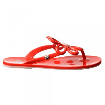 Mel Flower - Flat Flip Flop Sandals - Red, White / Black