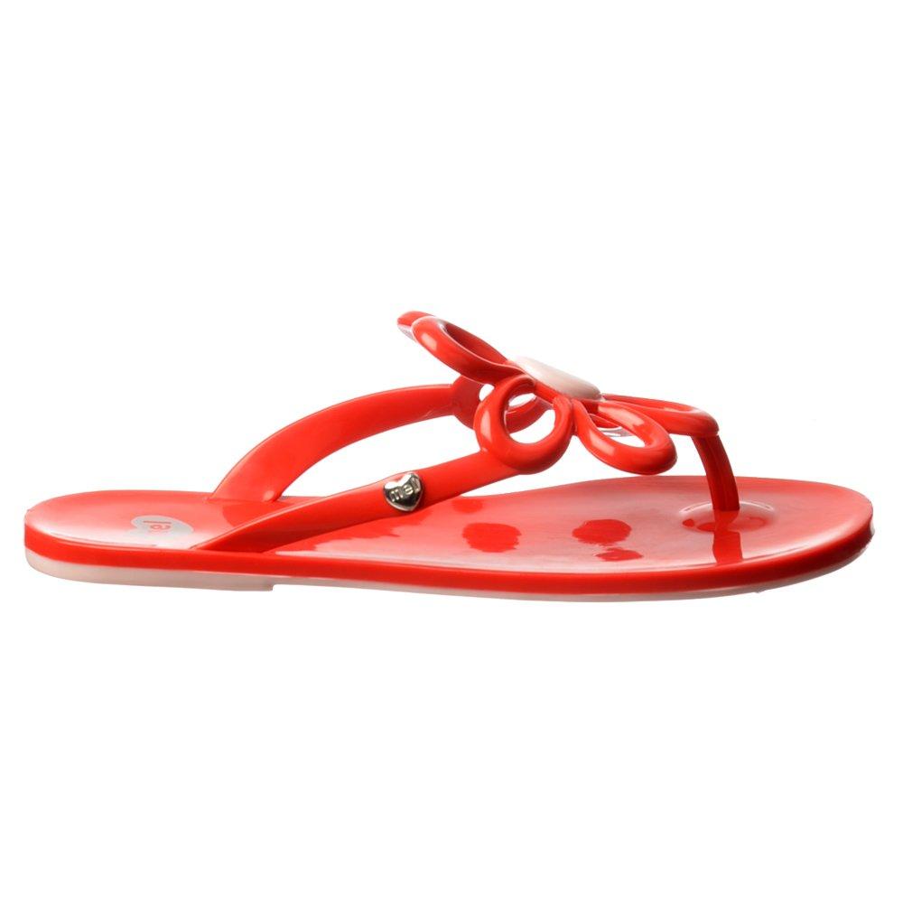 Mel Flower Flat Flip Flop Sandals Red White Black