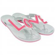 Love City 2 Flat Flip Flop - LOVE - Summer Sandal - Grey / Pink, Pink / Ivory