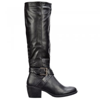 Onlineshoe Biker Boots Knee High With Buckle and Straps Feature - Black, Tan Brown
