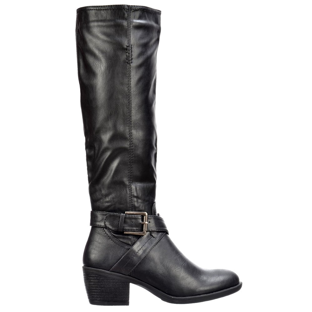 onlineshoe biker boots knee high with buckle and straps
