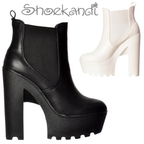 b43206edf68 Onlineshoe Chunky Cleated Sole Platform High Heel Chelsea Ankle Boot ...