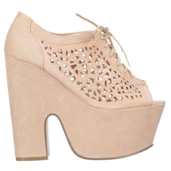Onlineshoe Demi Wedge Lace Up Vented Cut Out Sandal  - Cream Beige Suede