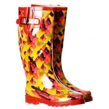 Onlineshoe Funky Flat Wellie Wellington Festival Rain Boots - Assorted Colours