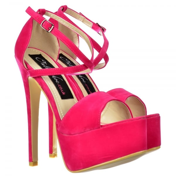 96189dca18da Onlineshoe Strappy Cross Over Stiletto Platform High Heel Shoes - Fuchsia  Pink Suede ...