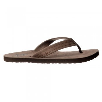 Reef Heathwood Flip Flops - Leather Toe Post Sandals - Tobacco, Brown