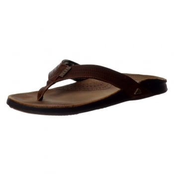 Reef Mens JAY-BAY III Leather Flip Flop - Camel , Dark Brown , Noche Black
