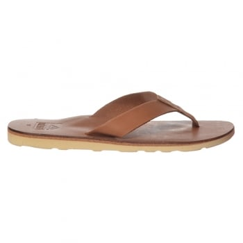 Reef Mens Voyage Leather Flip Flop - Dark Brown