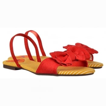 Rocket Dog Babydoll Ankle Strap Flat Sandals - Bow Detail  - Red, Blue
