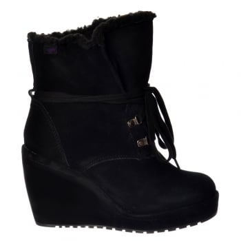 Rocket Dog Barney Fur Lined Suede Wedge Heel Ankle Boot - Black, Chestnut