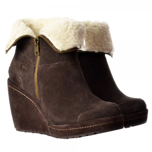 rocket boyd fur lined suede wedge heel platform ankle