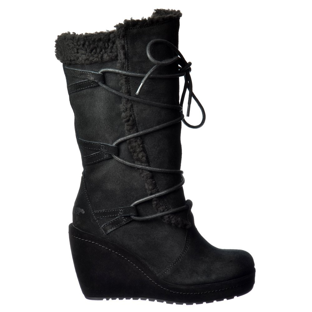 8f73825d99a Rocket Dog Bubbly Wide Calf Fleeced Warm Lace Up Mid Calf Winter Boot - Black  Suede
