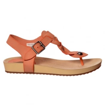 Rocket Dog Freya Coronado Flat Toe Post Summer Sandal - Black, Coral