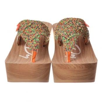 Natural Womens Rocket Dog Helena Macram Slip On Wedge Crochet Sandal Multi