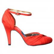Olivia - Mid Heel Ankle Strap Shoe - Black, Coral, Silver