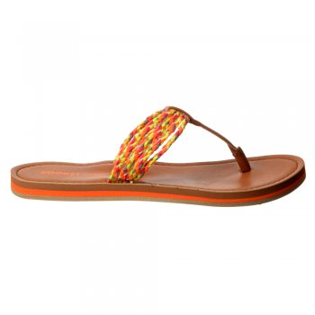 Rocket Dog Playa - Braided Patterned Flat Flip Flop - Black, Natural, Multi Braid