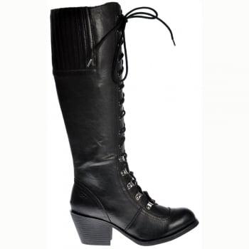 Rocket Dog Rachel Tall Military Slick PU Boots - Black