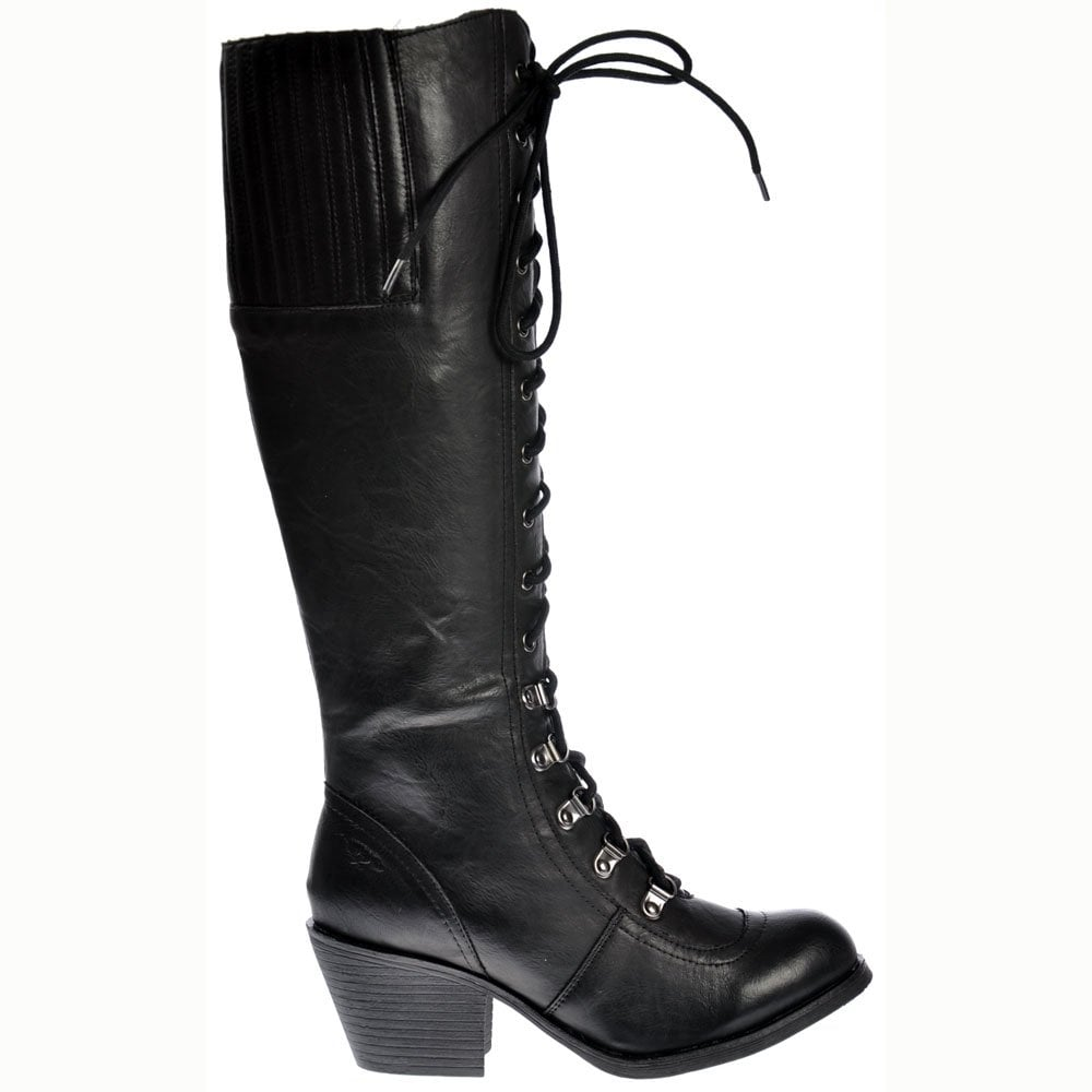 d576f0695ab Rocket Dog Rachel Tall Military Slick PU Boots - Black - Rocket Dog ...