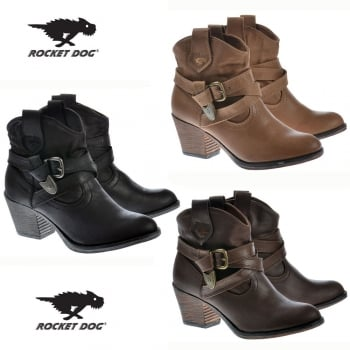 9e57d15ee7b Rocket Dog Satire Rider Fabric Ankle Cowboy Western Boots - Black ...