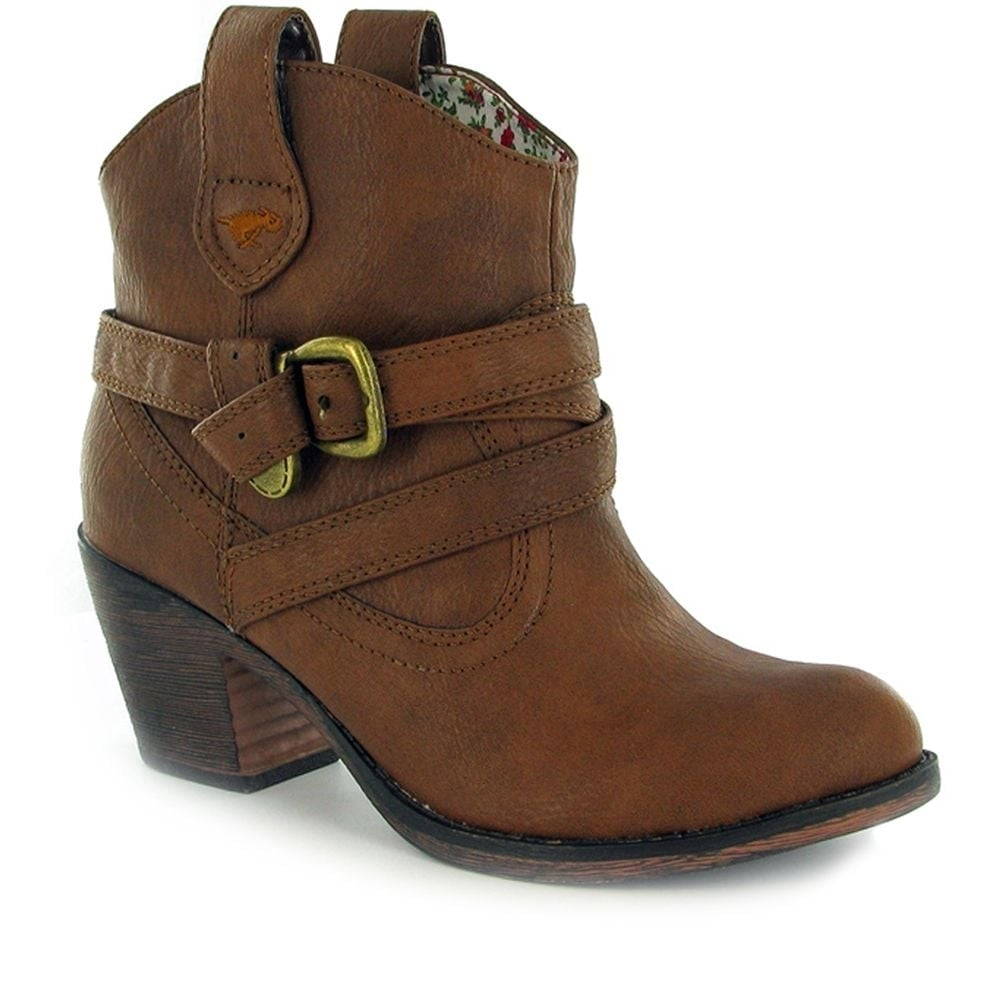 86953ab4044 Rocket Dog Satire Western Cowboy Style Ankle Boots Cuban Heel - Red ...