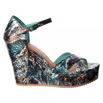 Rocket Dog Scarlett Anaconda - Ankle Strap Wedge Sandal - Blue Snakeskin
