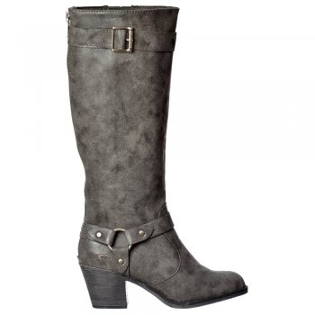 Rocket Dog Sebastian Mclaren Knee High Heeled Winter Boot - Whiskey, Charcoal